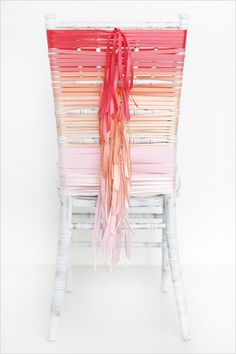 Chair Swag Decorations - A fun DIY ombre ribbon wedding chair cover. Cute Wedding Dress, Fall Wedding Dresses, Diy Wedding, Wedding Events, Decor Wedding, Wedding Ideas, Ribbon Wedding, Rustic Wedding, Sunset Wedding