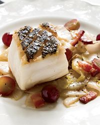 Pan-Seared Black Sea Bass with Endives and Grapes Recipe from Food & Wine