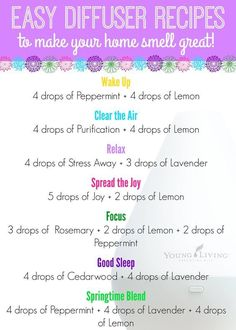 Easy Diffuser Recipes to Make Your Home Smell Great! Doterra Oils, Yl Oils, Aromatherapy Oils, Doterra Diffuser, Now Essential Oils, Essential Oil Diffuser Blends, Young Living Essential Oils, Essential Oil Uses, Young Living Diffuser