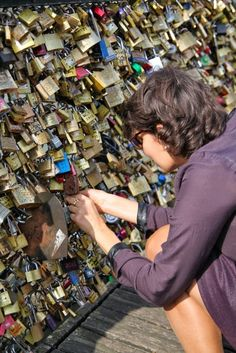 'Love Lock' Bridge,  Paris  France >>>> I saw this when I was in Paris the other day!I think I spent like one hour on that bridge.. It's adorable! x