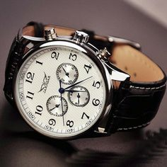 Image of Mens Leather Fashion Watch (WAT0103-WHITE)