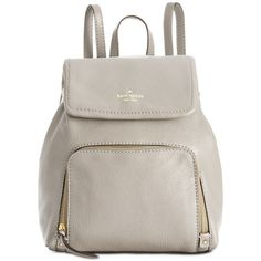 kate spade new york Cobble Hill Charley Backpack ($348) ❤ liked on Polyvore featuring bags, backpacks, hare grey, genuine leather backpack, kate spade backpack, grey backpack, leather backpack and leather backpack bag
