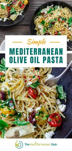 This simple Mediterranean olive oil pasta is textbook Mediterranean diet deliciousness! It skips all the fluff and heavy sauces in favor of extra virgin olive oil and a few ingredients. Perfect for summer parties! #summermeals Best Pasta Recipes, Pasta Dinner Recipes, Healthy Dinner Recipes, Pasta Meals, Easy Recipes, Vegetarian Recipes, Cooking Recipes, Mediterranean Diet Recipes, Mediterranean Dishes