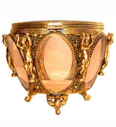 Ormolu jewelry casket, pink beveled glass