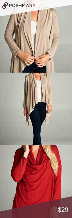 Coming Soon! Taupe Cardigan Beautiful, flowy cardigan. Can be buttoned or open. 95% Rayon 5% Spandex  Made in USA. Available in Taupe or Red. Separate listing for Red. J7 Sweaters Cardigans