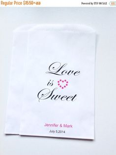 ON SALE Candy Buffet Favor Bags, Personlized Wedding Favor Bags, Lolly Bags, Gift Bags, Candy Bar Bags, Treat Bags