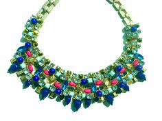 Blue, Pink and Green Bib Statement Necklace
