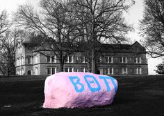 Hanna Hall and the Beta Rock on the Kenyon College Campus, Gambier, Ohio.  www.billybaer.net