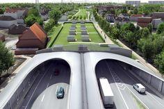 Als Lärmschutz werden Teilstücke der A7 überdeckelt und begrünt.