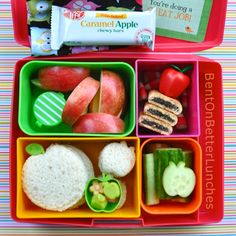 An apple themed Laptop Lunches bento box for Jonny Appleseed Day.