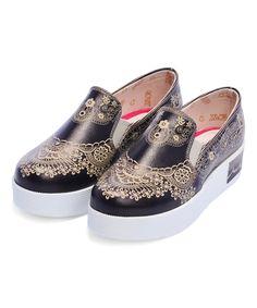 Look at this Black & Gold Henna Platform Slip-On Sneaker by Goby Gold Henna, Platform Slip On Sneakers, Walk This Way, Put On, Buy Now, Black Gold, Addiction, Walking, Pumps