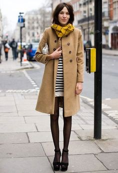 Alexa Chung in stripes, camel, and polka dot tights. London Fashion Week F/W 2011 London Fashion Weeks, Style Work, Mode Style, Her Style, Style Blog, Alexa Chung Style, Coat Outfit, Fashion Moda, Fashion Trends