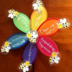 "Girl Scout Daisy kaper flower. Each girl has a Busy Bee with there name on it.  The girl who draws the center is called the ""Queen Bee"" and either gets the day off from helping or will be the leaders main helper. The girls love having jobs at our meetings and it helps things move along."
