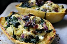 Spinach & Goat Cheese Stuffed Spaghetti Squash - Divalicious Recipes