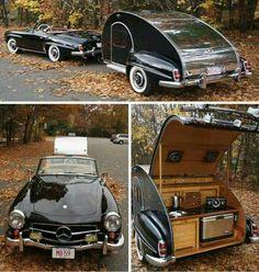 mercedes and tear drop trailer Camper Caravan, Camper Trailers, Camper Van, Shooting Break, Custom Trailers, Mercedez Benz, Vintage Travel Trailers, Vintage Campers, Vintage Caravans