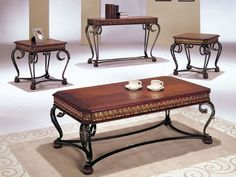 Acme Furniture Coffee Table & End Table Set Dark Oak Finish Coffee Table And Side Table Set, Coffee Table With Drawers, Black Side Table, Oak Coffee Table, White Side Tables, Coffee And End Tables, End Table Sets, Coffee Table Design, Occasional Tables