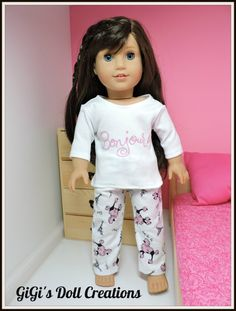 d1ce08b3d1 Doll PJ s Paris theme fits 18 inch dolls by GiGisDollCreations American  Girl Doll 2015
