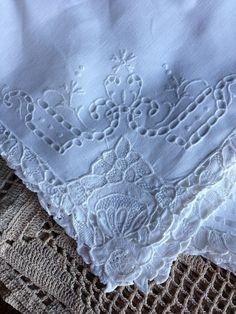 Vintage Linen Napkins Dinner Size Cut Work by missenpieces on Etsy, $55.00