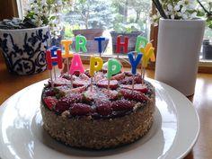Raw apple-walnut-chocolate-strawberry cake