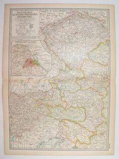 Antique Austria Map, Vintage Map Of Hungary 1901 Western Austria Hungary,  European Decor Gift