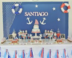 Amazing Dessert Table At A Nautical Birthday Party See More with The Brilliant Nautical Birthday Party - Party Supplies Ideas Sailor Birthday, Sailor Party, Boy First Birthday, Shower Bebe, Baby Boy Shower, Birthday Table, Birthday Parties, Sailor Baby Showers, Party Fiesta