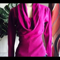 Comfy Cowl Neck Sweater EUC Magenta color cowl neck sweater. Reposh. Size is Large. I normally wear medium and this fits a little tight. Very comfortable! Like brand new. EUC Smoke free home. Not VS brand. PINK Victoria's Secret Sweaters Cowl & Turtlenecks