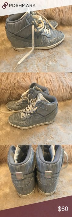 Nike Wedge Sneakers Worn a few times, Nike wedge sneakers is silver/grey. No outwardly signs of wear besides soles. Nike Shoes Sneakers