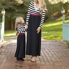 Boho Striped Mother & Daughter Matching Maxi Dress $21.37 Mommy And Me Dresses, Little Girl Dresses, Matches Fashion, Matching Outfits, Matching Clothes, Family Outfits, Elegant Dresses, Boho Dress, Fashion Dresses