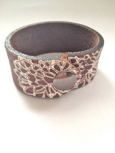 Boho Snow Leather Cuff by MellissaJill on Etsy, $22.00