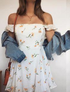 Denim jacket with white floral dress - Denim jacket with white floral dress . - Denim jacket with white floral dress – Denim jacket with white floral dress – {hashtags Source by - Cute Floral Dresses, White Floral Dress, Lovely Dresses, Floral Spring Dresses, Floral Outfits, White Dress Casual, Short Spring Dresses, Casual Fall Outfits, Cute Summer Outfits