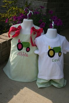 Matching Brother Sister  Tractor Outfits by PalmettoPrincessShop, $66.00
