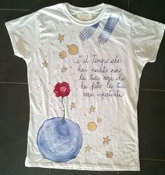 Maglietta dipinta a mano Il Piccolo Principe Info spedizioni serena.elisa@libero.it