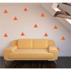 100 Triangle Shape Wall Stickers - 5.5cm Triangles / White