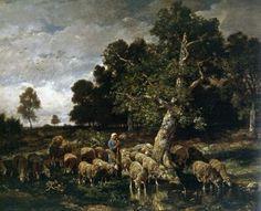Charles Emile Jacque shepherdess watering sheep 1881