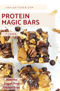 Amazing Protein Magic bars with 7 layers of sugar free treats including chocolate chips and an actual protein bar! Using cereal and protein shake as the base and binder, these protein magic cookie bars are without graham crackers and condensed milk; Keto option too. Sugar Free Protein Bars, Protein Bar Recipes, Protein Desserts, Magic Cookie Bars, Magic Bars, Unflavored Protein Powder, Vanilla Protein Powder, Sugar Free Treats, Sugar Free Desserts