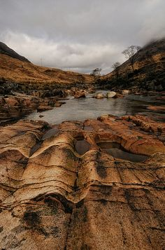 Rocks eroded by the fierce waters of the River Etive - Scotland