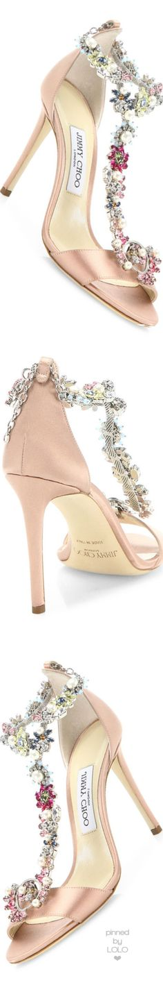 Jimmy Choo Reign 100 Crystal-Embellished Satin T-Strap Sandals♥✿♥