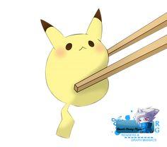 Render Pokemon Pikachu mini sushi kawaii souris jaune baguettes ...