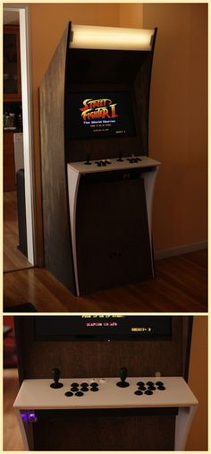 Now this is slick. It actually looks like a nice modern piece of furniture. That just happens to be an arcade cab. Arcade Retro, Retro Game, Nerd Room, Gamer Room, Arcade Game Room, Arcade Games, Arcade Cabinet Plans, Arcade Bartop, Mame Cabinet