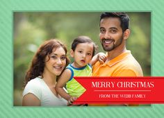 Simple, green and red holiday photo card! Personalize with your family photo and your own holiday message! | CatPrint Design #885