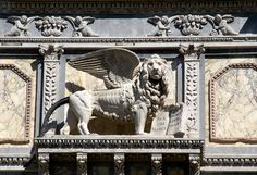 Republic Of Venice, The Republic, Naval Flags, Stone Lion, Leone, Venice Italy, Lion Sculpture, Walking, Base