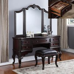 "3 pc Sheffield dark wood finish bedroom makeup vanity sitting table and mirror set. This set includes the vanity table large tri fold mirror and stool. Vanity measures 62"" x 20"" x 31"" H, Mirror measures 72"" H x 56"" Wide. Stool measures 21"" x 17"" x 18"" H. Some assembly required."