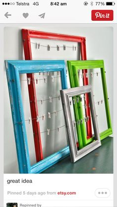 frames with wire and clothes pin