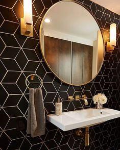 22 Bathroom Tile Ideas - Simple & Stylish Three Bold Tile Choices for a Family Home Art Deco Bathroom, Bathroom Sets, Small Bathroom, Art Deco Tiles, Art Deco Mirror, Wall Paper Bathroom, Art Deco Kitchen, Compact Bathroom, Mirror Wall Art