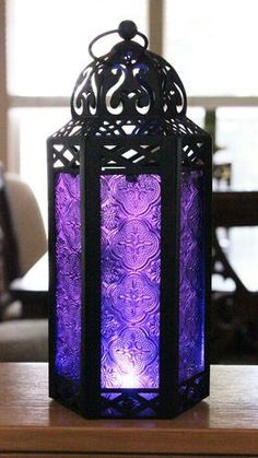 All the sh - Elegant Purple Table/hanging Hexagon Moroccan Candle Lantern Holders Purple Love, All Things Purple, Purple Glass, Shades Of Purple, Purple Stuff, Periwinkle, Magenta, Purple Table, Moroccan Lanterns