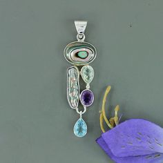 Abalone Shell, Fresh Water Pearl, Amethyst, Blue Topaz Multi Gemstone Pendant, 925 Sterling Silver Jewelry, Unique Christmas Gift Jewelry