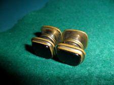 Alte Vintage Art Deco Manschettenknöpfe-Cufflinks-4xOnyx u.Messing-Handmade-Top-