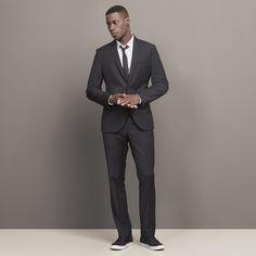 Thin Pinstripe Suit Jacket, BLACK COMBO