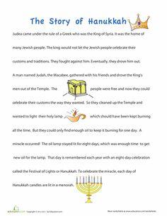 Hanukkah Preschool Comprehension Community & Cultures Worksheets: Story of Hanukkah for Children Hanukkah For Kids, Hanukkah Crafts, Feliz Hanukkah, Christmas Hanukkah, Hannukah, Happy Hanukkah, Holiday Crafts, Hanukkah Food, How To Celebrate Hanukkah