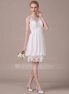 A-Line/Princess V-neck Knee-Length Chiffon Lace Wedding Dress With Ruffle (002042524) - JJsHouse